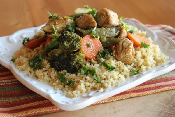 WOK-TURKEY BREAST WITH VEGETABLES AND COUSCOUS