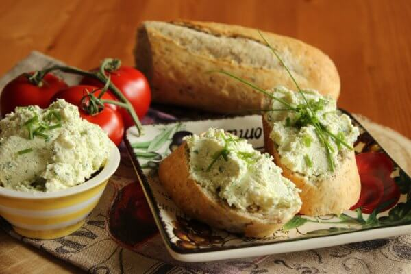 Homemade cheese spread with horseradish and herbs